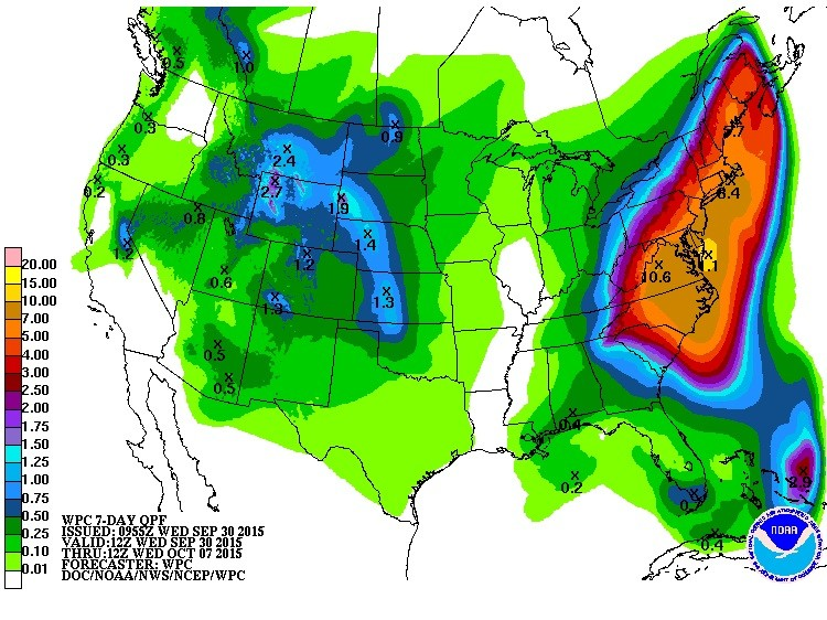 Total precipitation forecast, September 30 through October 7 © National Hurricane Center