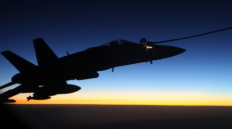 An F/A-18A Hornet from Australia's Air Task Group refuels at sunset from a Royal Australian Air Force KC-30A Multi Role Tanker Transport aircraft during the first mission of Operation OKRA to be flown over Syria. © defence.gov.au