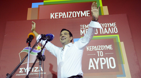 Former Greek prime minister and leader of leftist Syriza party Alexis Tsipras waves to supporters after winning the general election in Athens, Greece, September 20, 2015. © Michalis Karagiannis