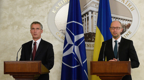 NATO Secretary General Jens Stoltenberg (left) and Ukrainian Prime Minister Arseny Yatsenyuk give a joint news conference in Kiev. © Stringer