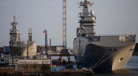 Two Mistral-class helicopter carriers Sevastopol (R) and Vladivostok are seen at the STX Les Chantiers de l'Atlantique shipyard site in Saint-Nazaire, western France © Stephane Mahe