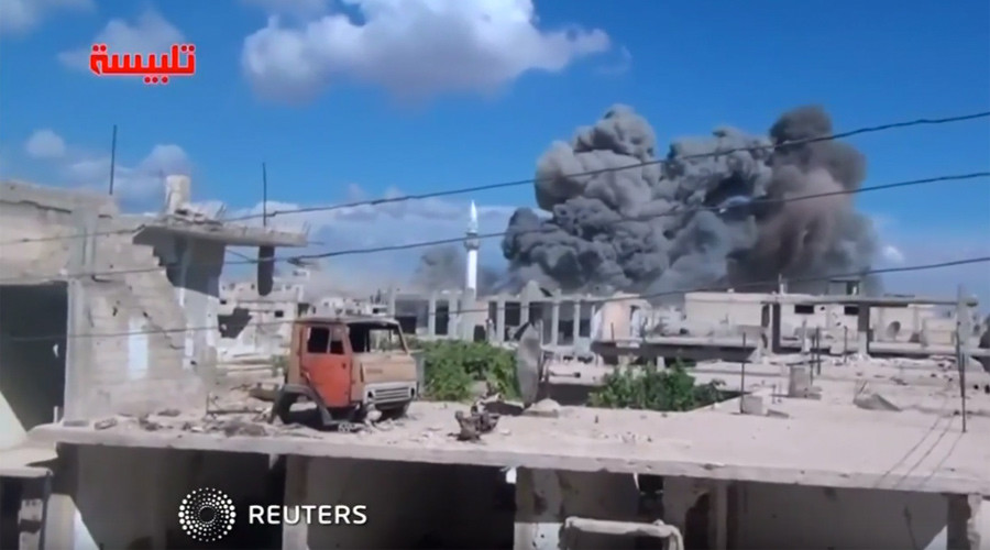Amateur video allegedly shows aftermath of a Russian airstrike. © Reuters