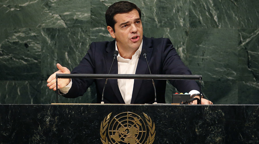 Greek Prime Minister Alexis Tsipras addresses attendees during the 70th session of the United Nations General Assembly at the U.N. Headquarters in New York, October 1, 2015. © Mike Segar
