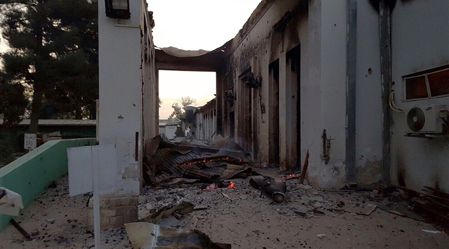 Fires burn in part of the MSF hospital in the Afghan city of Kunduz after it was hit by an air strike © MSF