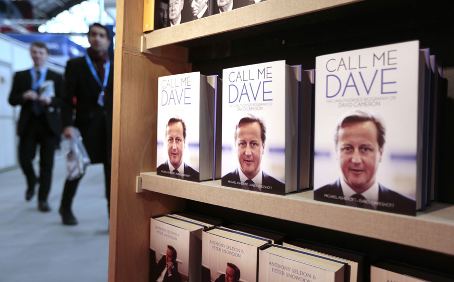 "Copies of ""Call Me Dave"", an unauthorised biography of David Cameron, are displayed at the Conservative Party Conference in Manchester, Britain October 4, 2015. © Suzanne Plunkett"
