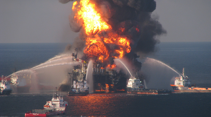 Fire boat response crews battle the blazing remnants of the offshore oil rig Deepwater Horizon, off Louisiana, in this handout photograph taken on April 21, 2010. © U.S. Coast Guard