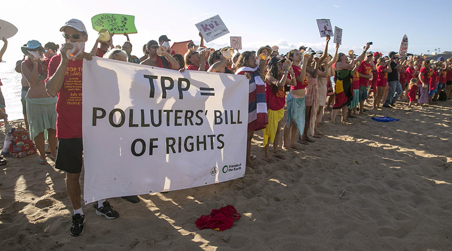 Protesters attend a demonstration against the Trans-Pacific Partnership (TPP) on the beach near the hotel where the TPP meeting is being held in Lahaina, Maui, Hawaii July 29, 2015. © Marco Garcia