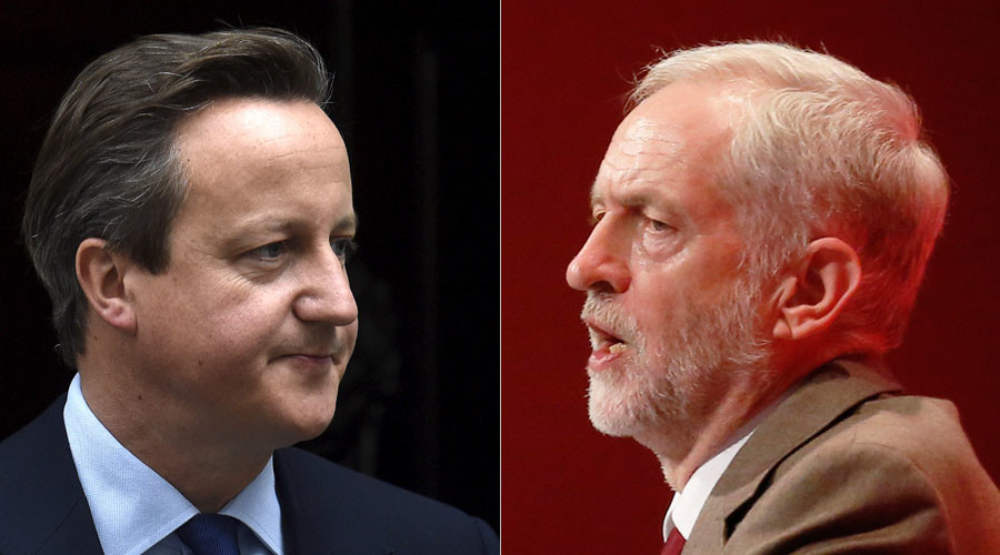 British Prime Minister David Cameron (L) and Britain's leader of the opposition Labour Party, Jeremy Corbyn. © Reuters