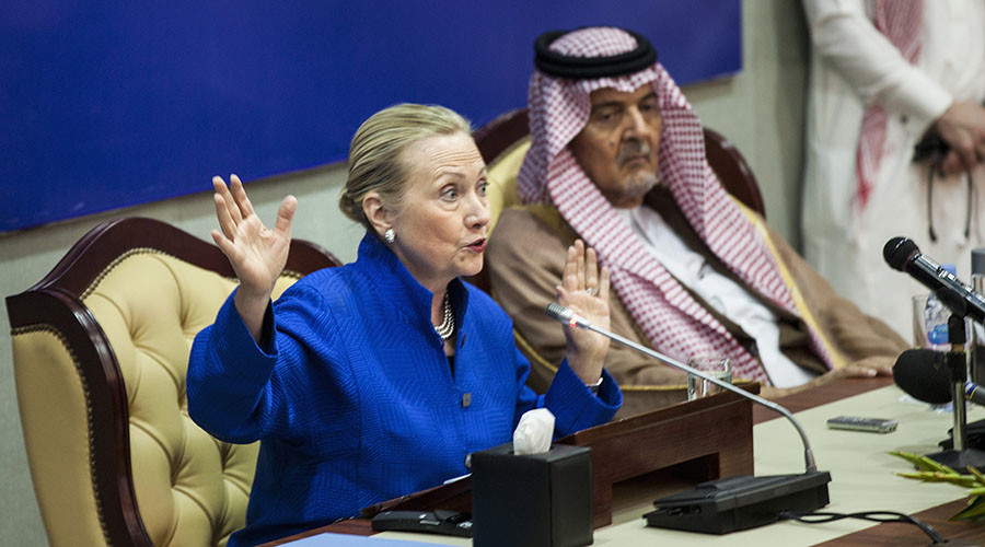 U.S. Secretary of State Hillary Clinton (L) holds a joint news conference with Saudi Foreign Minister Prince Saud al-Faisal following a U.S.-Gulf Cooperation Council forum at the GCC secretariat in Riyadh March 31, 2012. © Brendan Smialowski