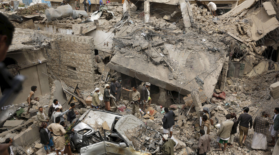 People gather at the site of a Saudi-led air strike in Yemen's capital Sanaa © Khaled Abdullah