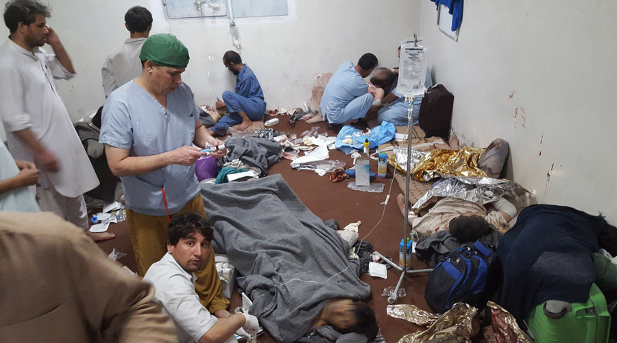 Medical personnel as they treat wounded colleagues and patients in a hospital in Kunduz on October 3, 2015, in the aftermath of an airstrike on the facility in the northern Afghan city. © MSF
