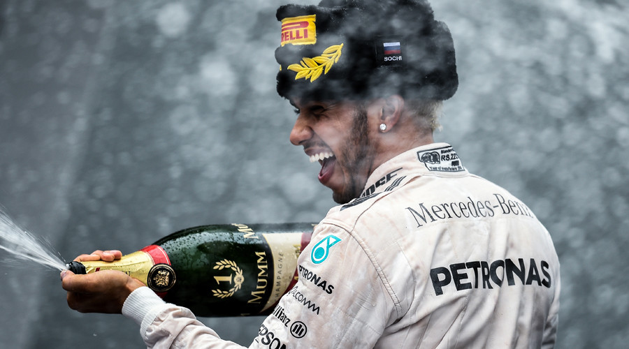 Mercedes' Lewis Hamilton celebrates after winning the race Formula One Russian Grand Prix 2015 Sochi © Alexey Philippov
