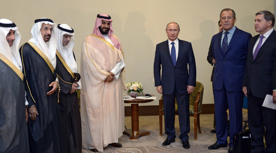Russian President Vladimir Putin, 3rd right, and Deputy Crown Prince, Second Deputy Prime Minister and Defense Minister of Saudi Arabia Mohammad bin Salman Al Saud, 4th left, at their meeting in Sochi, October 11, 2015. © Aleksey Nikolskyi