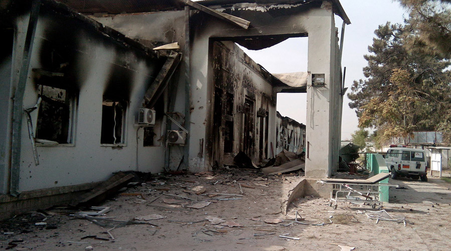 The damaged hospital in which the Medecins Sans Frontieres (MSF) medical charity operated is seen on October 13, 2015 following an air strike in the northern city of Kunduz. © STR