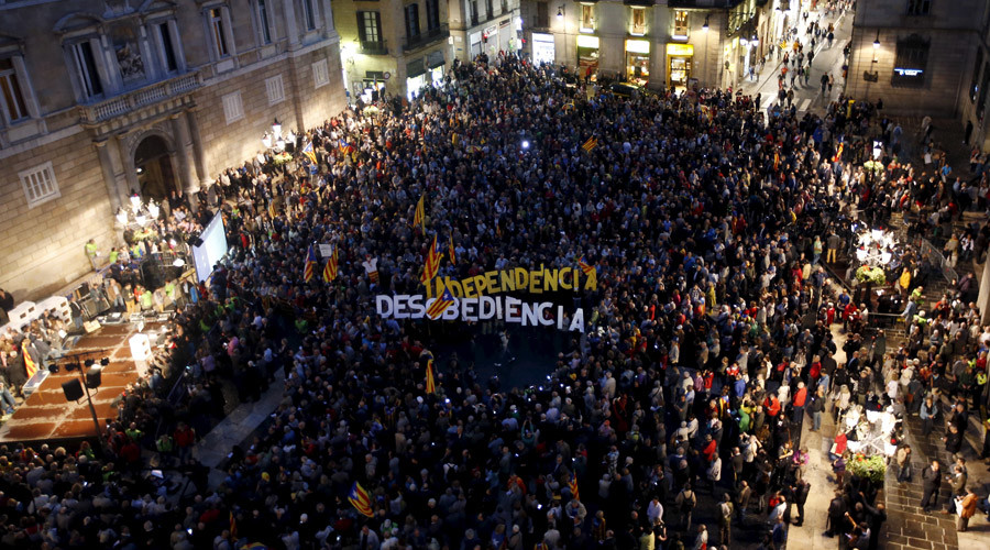 Catalonia leader in dock over rogue independence referendum, as thousands cheer outside
