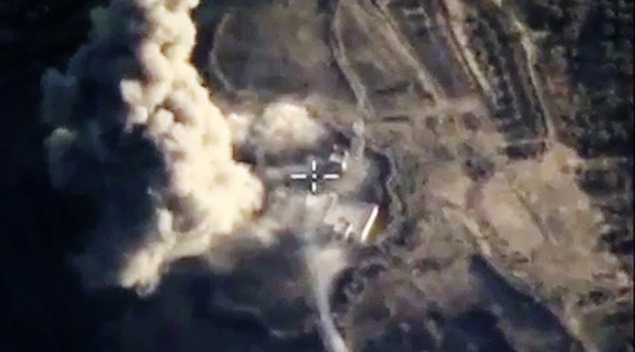 Sukhoi Su-24M attack aircraft of the Russian Aerospace Forces conducted targeted air strikes on the militants' storages with armored vehicles, fuel and lubrication materials and material-technical supplies near Khan Shaykhun town in Syria's Idlib Governorate. © Russian Defence Ministry