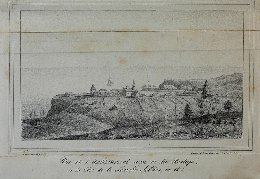 A view of Fort Ross in 1828 by A. B. Duhaut-Cilly. From the archives of the Fort Ross Historical Society © Wikipedia