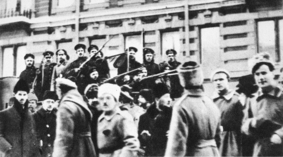 Sailors of cruiser Avrora crew during the 1917 Revolution in Russia.