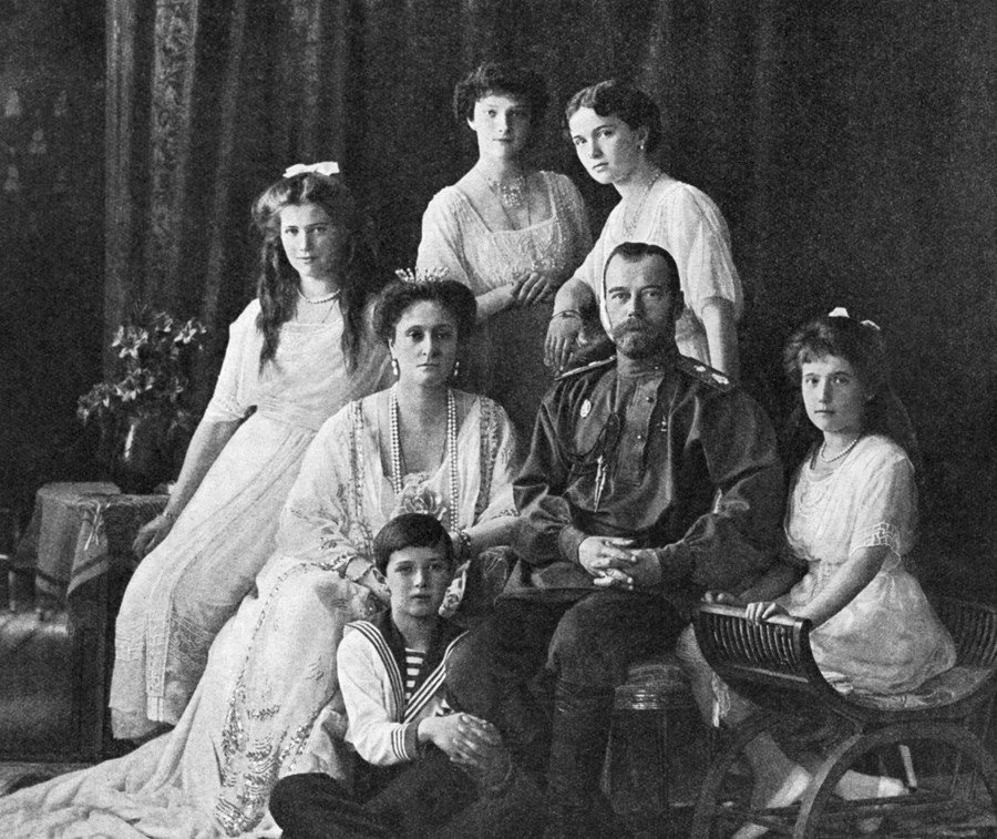Russian Emperor Nicholas II (second from right) and his family.
