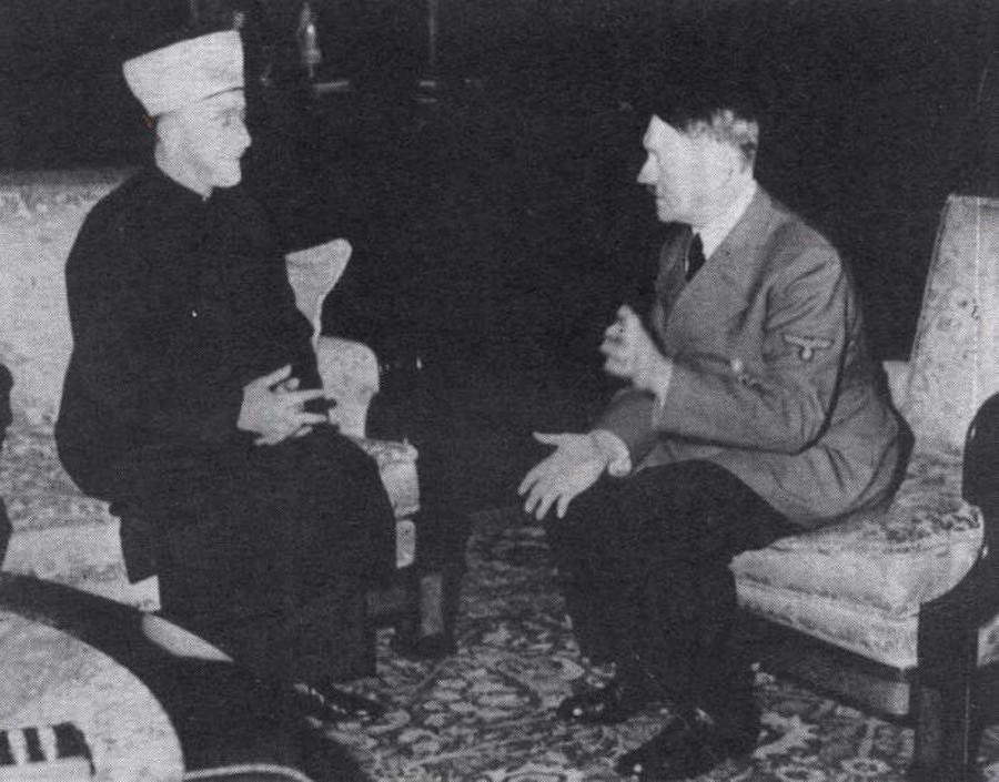 German Führer Adolf Hitler and Grand Mufti of Jerusalem Mohammad Amin Al-Husseini meet in Berlin, 30 November 1941.
