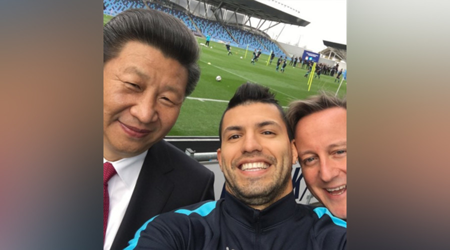 Cameron awkwardly photobombs Xi Jinping selfie with Man City footballer