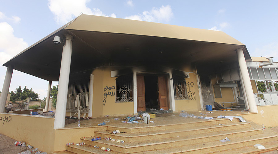 An exterior view of the U.S. consulate, which was attacked and set on fire by gunmen yesterday, in Benghazi September 12, 2012. © Esam Al-Fetori