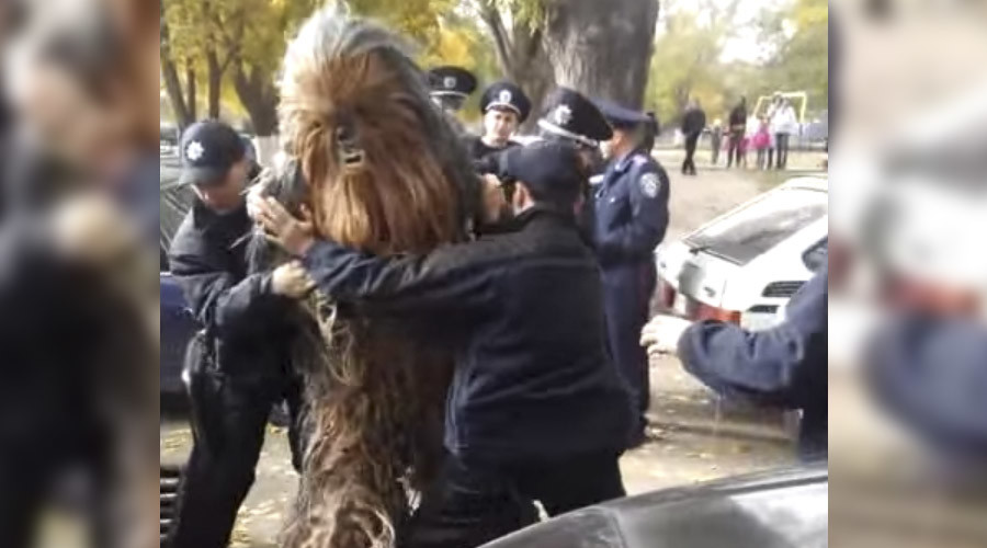 Chewbacca campaigns for Darth Vader in Ukraine, gets handcuffed by police (VIDEO)
