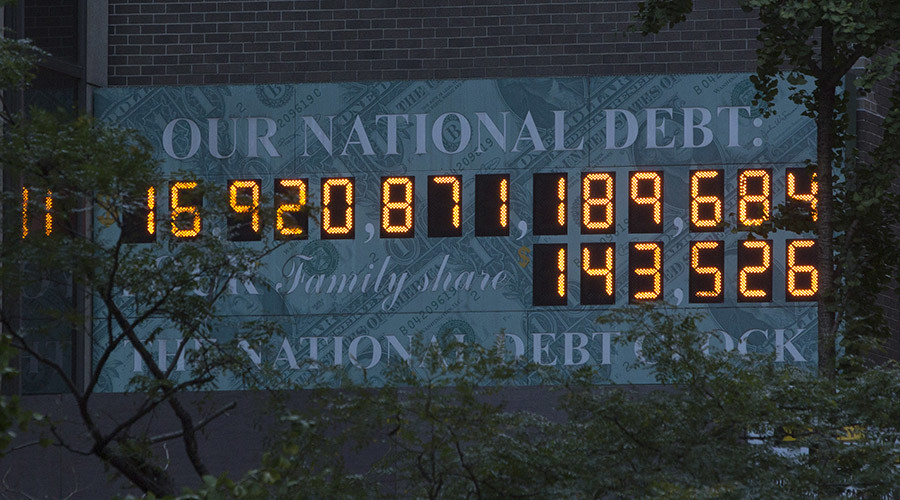 The national Debt Clock is seen in New York. © Andrew Kelly