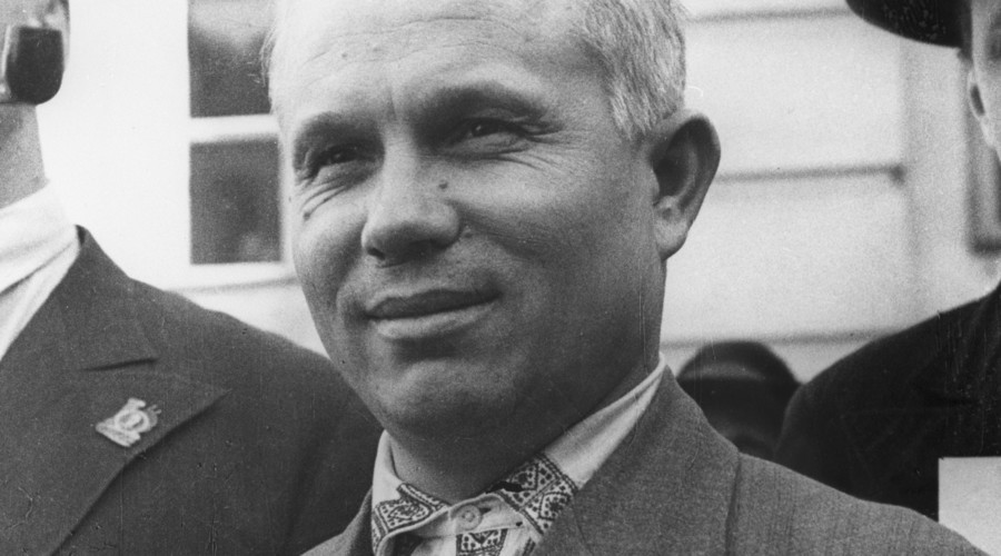 Nikita Khrushchev [1894-1971], First Secretary of the Moscow Region and City Committees of the Soviet Communist Party. Reproduction of 1935 photo.