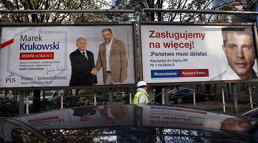 A worker walks in front of election posters depicting Law and Justice's (PiS) candidate Marek Krukowski and party's leader Jaroslaw Kaczynski and Nowoczesna's leader Ryszard Petru (L-R) in Warsaw, Poland, October 26, 2015 © Kacper Pempel