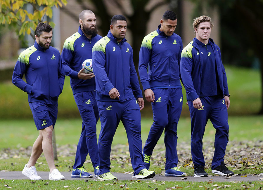 Australia's Adam Ashley Cooper, Scott Fardy, Scott Sio, Israel Folau and Michael Hooper after the press conference. © Action Images / Henry Browne