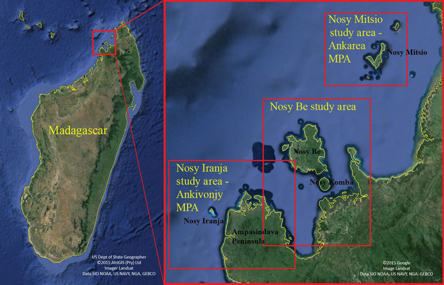 Location of the study site off northwest coast of Madagascar, including the Nosy Be and Nosy Iranja study areas. © rsos.royalsocietypublishing.org