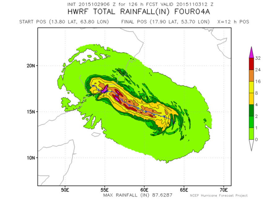 Forecasted rainfall totals (in inches) from Cyclone Chapala are literally off the charts. More than 32 inches of rain could fall in parts of Oman and Yemen—eight times the annual average. © NOAA/NCEP