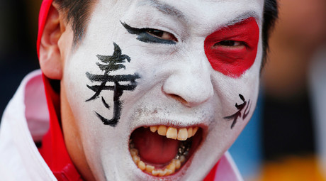 Scotland v Japan. Rugby World Cup 2015. Rugby World Cup 2015. Japan fan poses before the game © Eddie Keogh