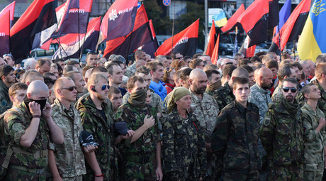 Participants in a Right Sector public meeting in Kiev. © Stringer