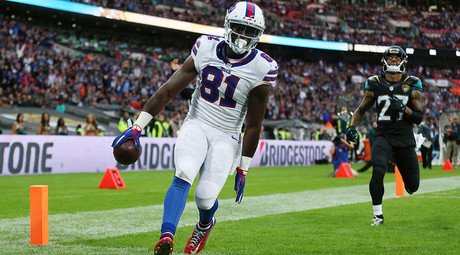 Marcus Easley celebrates scoring the second touchdown for the Buffalo Bills © Matthew Childs