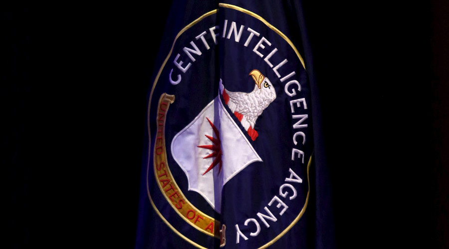 "The Central Intelligence Agency (CIA) flag is displayed on stage during a conference on national security entitled ""The Ethos and Profession of Intelligence"" in Washington October 27, 2015. © Yuri Gripas"