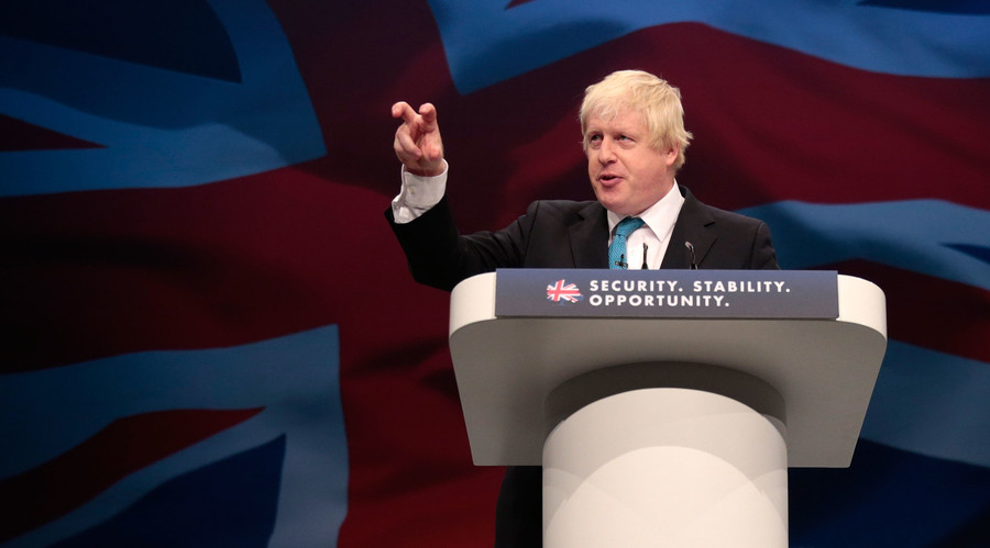 London's Mayor Boris Johnson speaks on the third day of the Conservative Party Conference in Manchester northern Britain, October 6 , 2015. © Phil Noble