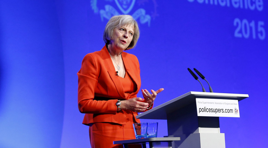 Britain's Home Secretary Theresa May speaks during the Police Superintendents Association of England and Wales annual conference in Kenilworth, Britain, September 9, 2015. © Darren Staples