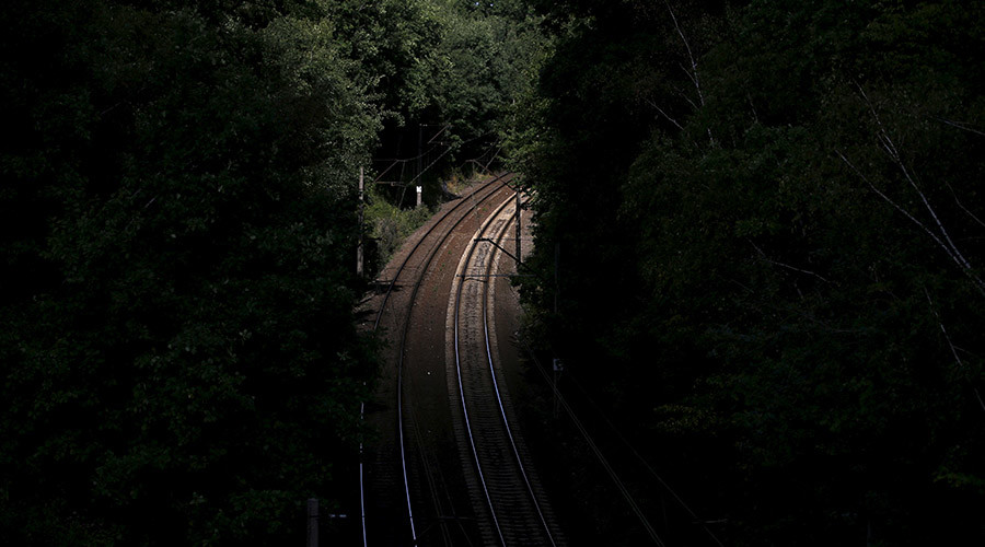 Railway tracks at a site near an area where a Nazi train is believed to be, in Walbrzych, Poland. © Kacper Pempel