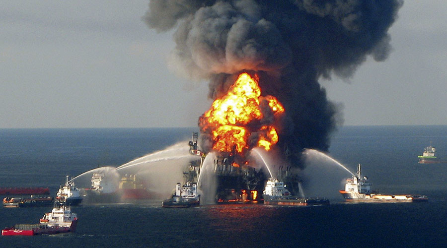The offshore oil rig Deepwater Horizon, off Louisiana, in April 21, 2010 file handout image. © U.S. Coast Guard