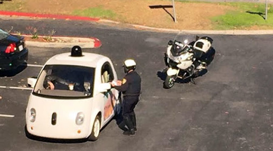 Who do I send the ticket to? Cops pull over Google self-driving car
