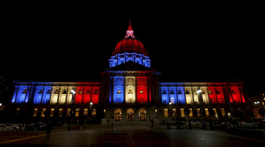 San Francisco City Hall is lit up with blue, white and red, the colors of the French flag, following the Paris terror attacks, in San Francisco, California November 13, 2015. © Stephen Lam