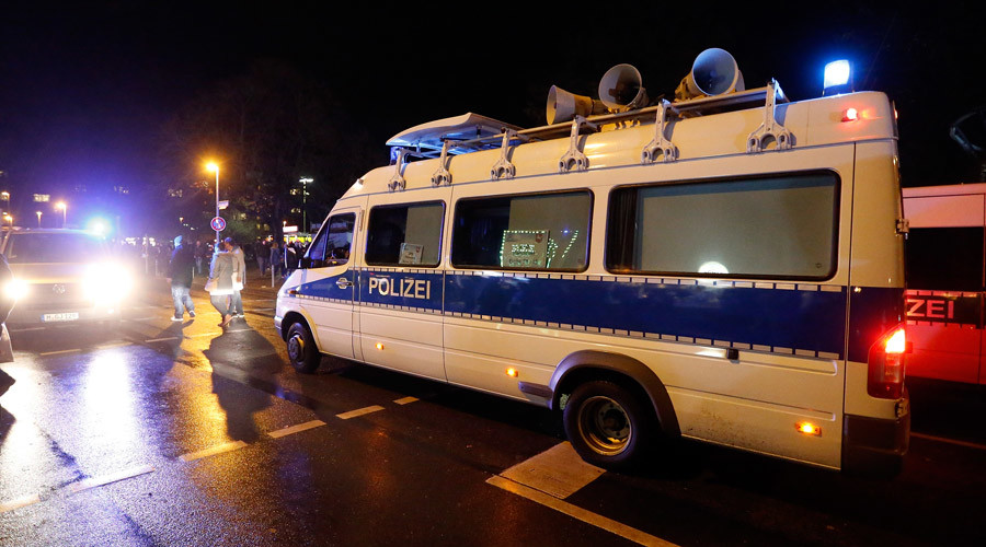 Police outside the stadium © Morris Mac Matzen