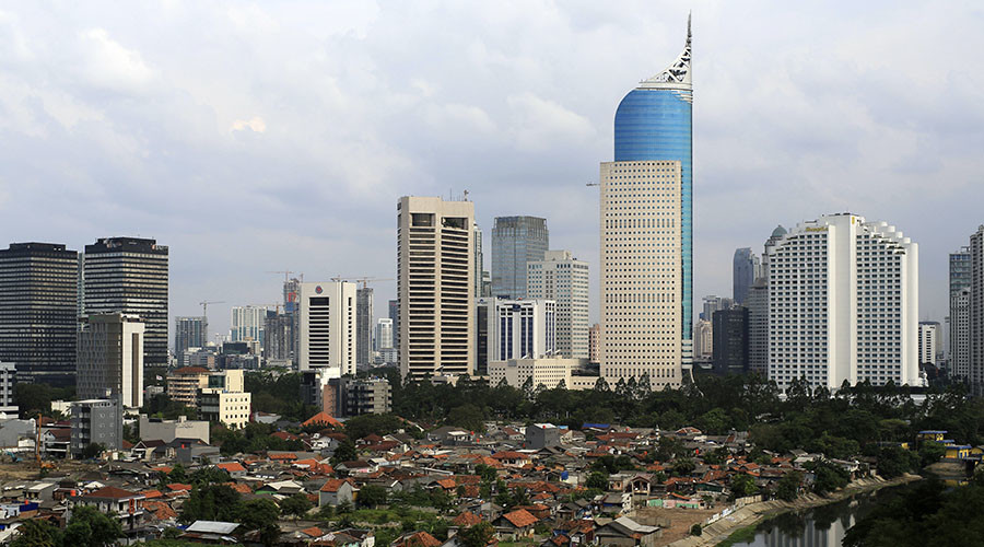 An aerial view of the business district in Jakarta. © Beawiharta
