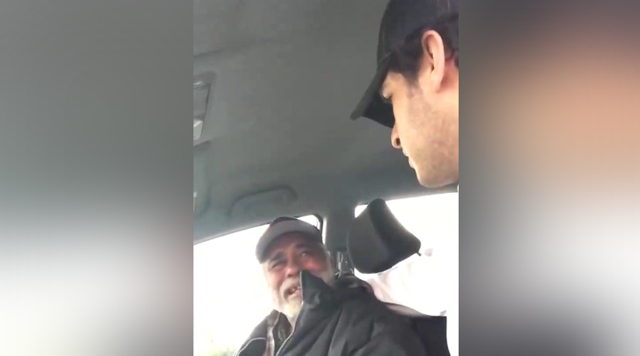 Homeless war veteran bursts into tears as passer-by buys him food at California gas station (VIDEO)