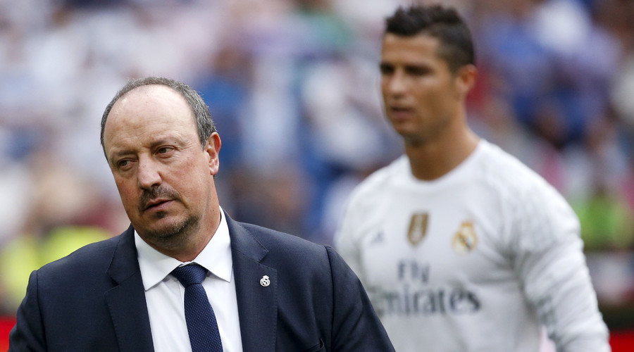 Real Madrid's coach Rafael Benitez (L) and Cristiano Ronaldo before their Spanish First Division soccer match against Malaga. © Juan Medina