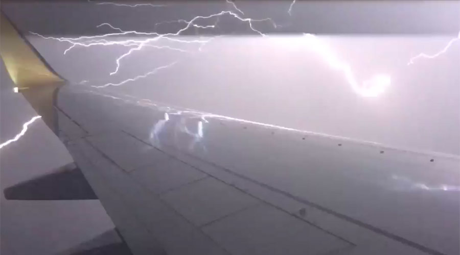Scary moment: Lightning strikes meters from plane in Australia, filmed by passenger (VIDEO)
