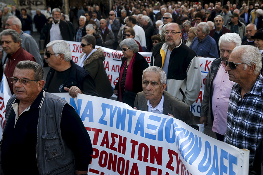 Greek pensioners march during a demonstration in Athens, Greece © Alkis Konstantinidis
