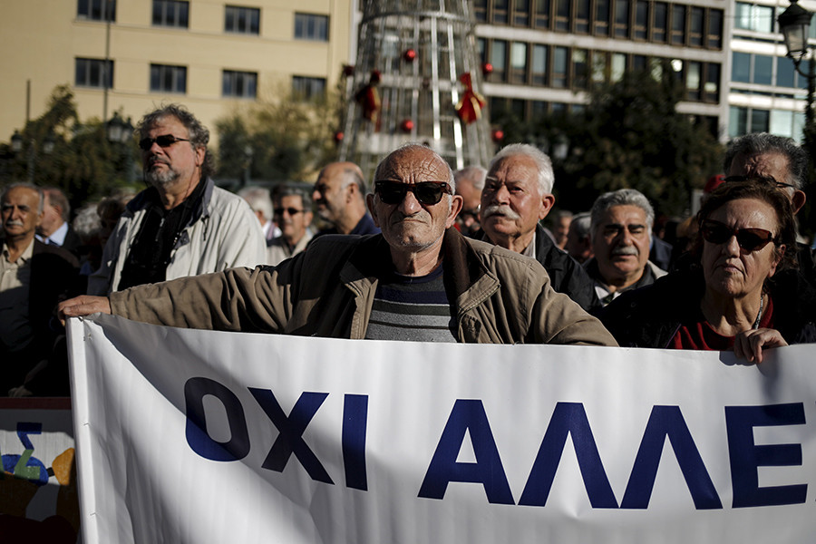 Greek pensioners take part in a demonstration in Athens, Greece © Alkis Konstantinidis